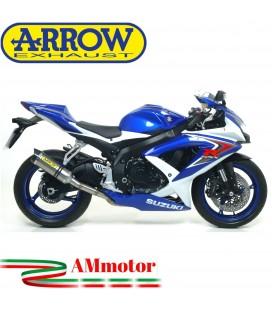 Terminale Di Scarico Arrow Suzuki Gsx-R 750 08 - 2010 Slip-On Thunder Titanio Moto Fondello Carbonio