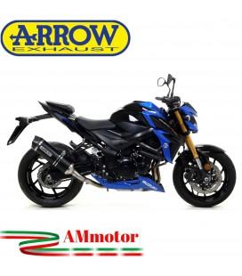 Terminale Di Scarico Arrow Suzuki Gsx-S 750 17 - 2020 Slip-On Race-Tech Alluminio Dark Moto Fondello Carbonio