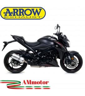Terminale Di Scarico Arrow Suzuki Gsx-S 1000 / 1000 F 17 - 2020 Slip-On Race-Tech Alluminio Moto Fondello Carbonio