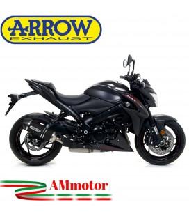 Terminale Di Scarico Arrow Suzuki Gsx-S 1000 / 1000 F 17 - 2020 Slip-On Race-Tech Alluminio Dark Moto Fondello Carbonio