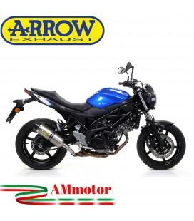 Terminale Di Scarico Arrow Suzuki SV 650 16 - 2020 Slip-On Race-Tech Titanio Moto Fondello Carbonio