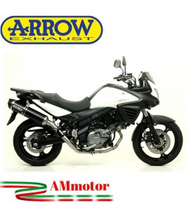 Terminale Di Scarico Arrow Suzuki V-Strom 650 11 - 2016 Slip-On Race-Tech Alluminio Dark Moto Fondello Carbonio