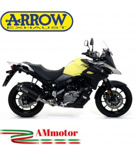 Terminale Di Scarico Arrow Suzuki V-Strom 650 17 - 2020 Slip-On Race-Tech Alluminio Dark Moto Fondello Carbonio