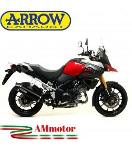 Terminale Di Scarico Arrow Suzuki V-Strom 1000 14 - 2016 Slip-On Maxi Race-Tech Alluminio Dark Moto Fondello Carbonio