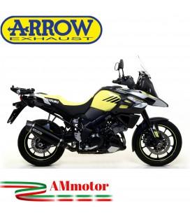 Terminale Di Scarico Arrow Suzuki V-Strom 1000 17 - 2020 Slip-On Maxi Race-Tech Alluminio Dark Moto Fondello Carbonio