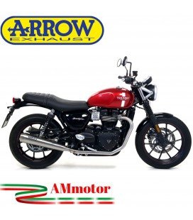 Terminali Di Scarico Arrow Triumph Street Twin 900 17 - 2018 2 Slip-On Pro-Racing Nichrom Moto