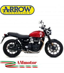 Terminali Di Scarico Arrow Triumph Street Twin 900 17 - 2018 2 Slip-On Pro-Racing Nichrom Dark Moto