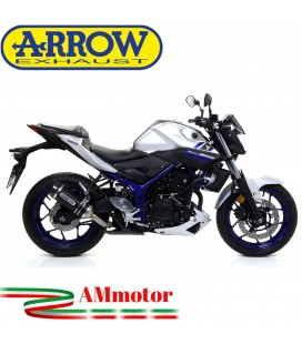 Terminale Di Scarico Arrow Yamaha MT-03 16 - 2017 Slip-On Street Thunder Alluminio Dark Moto Fondello Carbonio