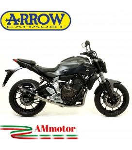 Terminale Di Scarico Arrow Yamaha MT-07 14 - 2020 Slip-On Thunder Alluminio Dark Moto Fondello Carbonio