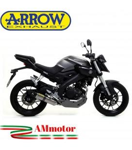 Terminale Di Scarico Arrow Yamaha MT 125 14 - 2019 Slip-On Thunder Titanio Moto Fondello Carbonio