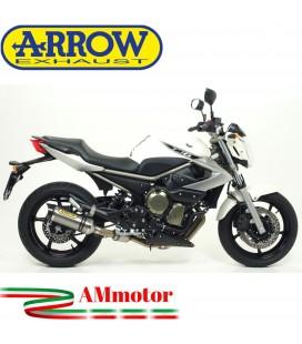 Terminale Di Scarico Arrow Yamaha Xj6 / Xj6 Diversion 09 - 2015 Slip-On Street Thunder Titanio Moto Fondello Carbonio