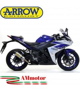 Terminale Di Scarico Arrow Yamaha Yzf R3 15 - 2016 Slip-On Street Thunder Titanio Moto Fondello Carbonio