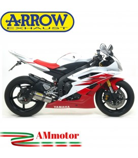 Terminale Di Scarico Arrow Yamaha Yzf 600 R6 06 - 2007 Slip-On Thunder Titanio Moto Fondello Carbonio Coll Originali