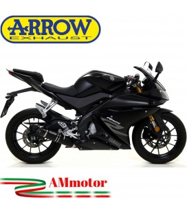 Terminale Di Scarico Arrow Yamaha Yzf R 125 17 - 2018 Slip-On Street Thunder Alluminio Dark Moto Fondello Carbonio