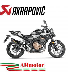 Akrapovic Honda Cb 400 / 500 X 19 - 2021 Terminale Di Scarico Slip-On Line Carbonio Moto Omologato