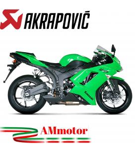 Akrapovic Kawasaki Ninja Zx-6 R 07 2008 Terminale Di Scarico Slip-On Line Titanio Moto Omologato