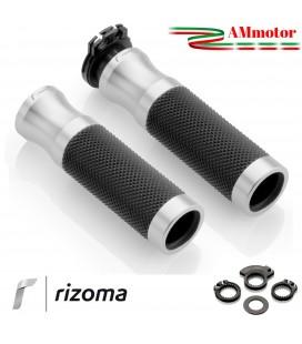 Manopole rizoma Bmw R Nine T / Scrambler Moto Sport Coppia Argento Alluminio Gomma