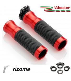 Manopole rizoma Moto Sport Coppia Colore Rosso Alluminio Gomma