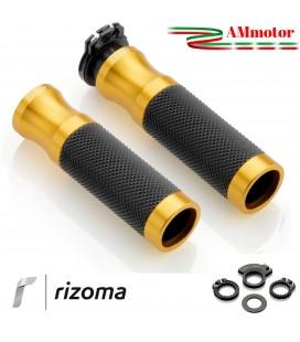 Manopole rizoma Moto Sport Coppia Colore Oro Alluminio Gomma