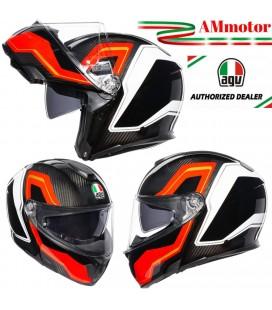 Agv Sportmodular Sharp Red White Casco Modulare Carbonio Moto Visiera Max Pinlox