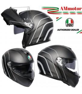 Agv Sportmodular Refractive Silver Casco Modulare Carbonio Moto Visiera Max Pinlox
