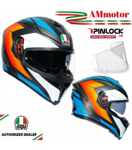 Caco Agv K-5 S Core Matt Black Blue Orange Integrale Da Moto Max Visiera Pinlok